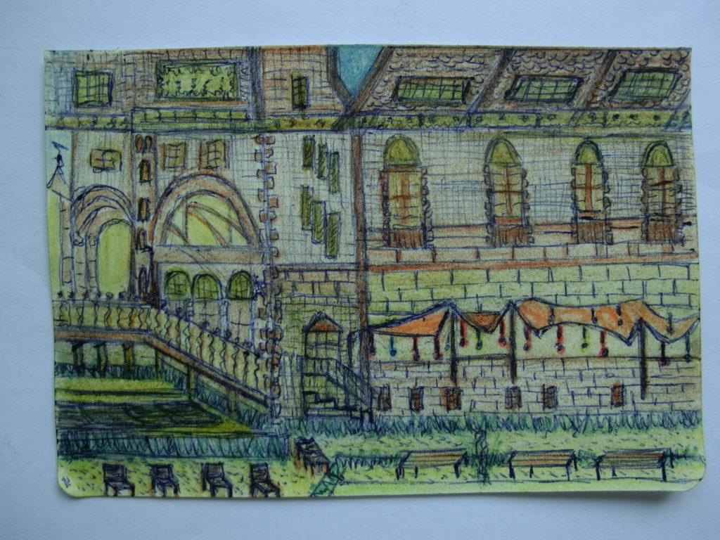 tekening Rijksmuseum in tuin Rijksmuseum door Didy van de Veer