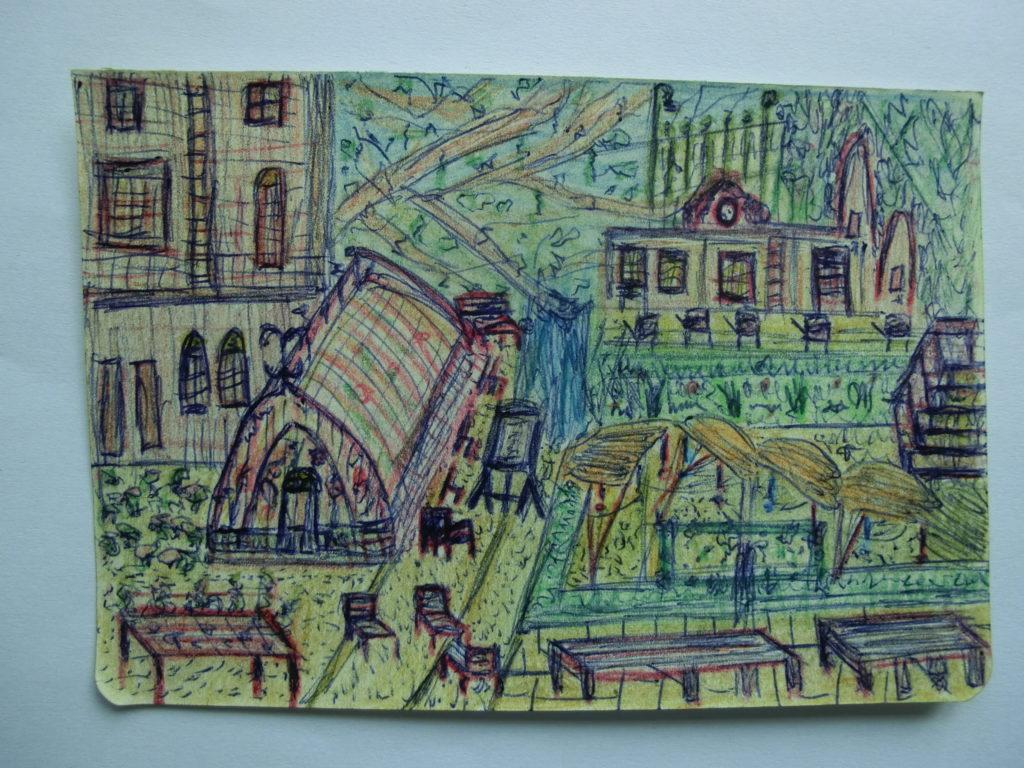 tekening koffiehuis en kas in tuin Rijksmuseum door Didy van de Veer