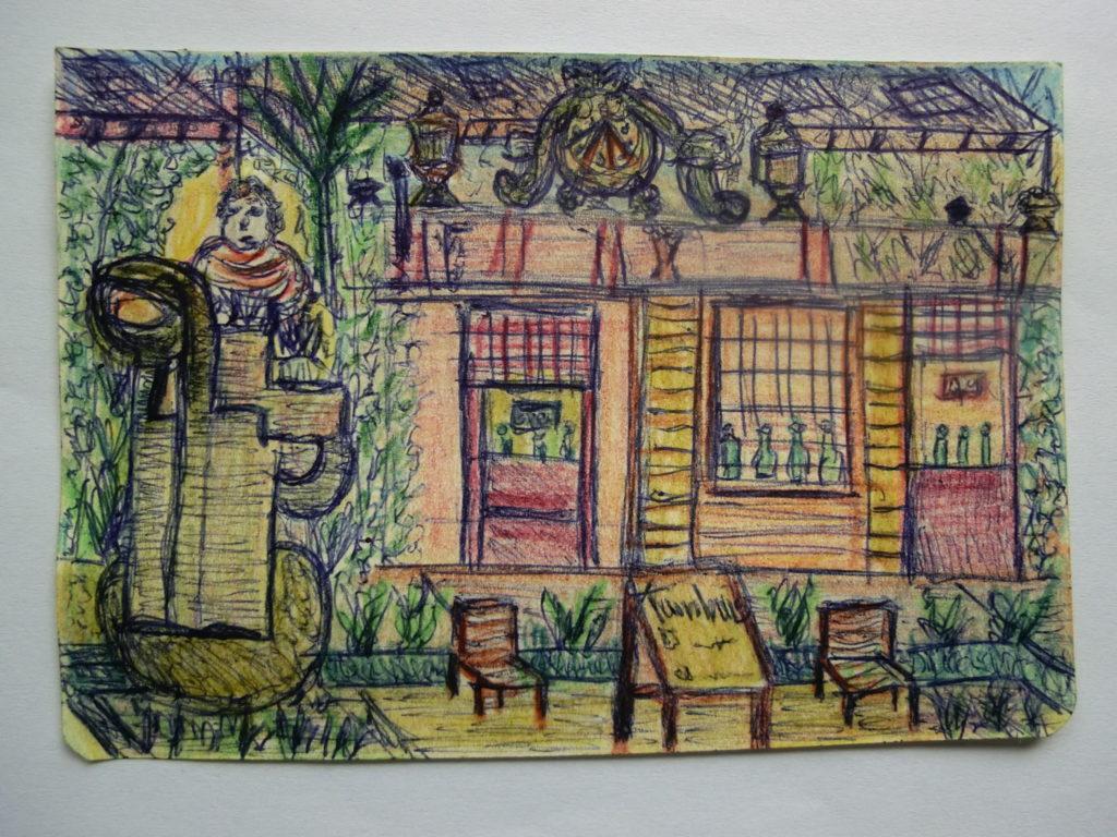 tekening koffiehuis en kunstwerken in tuin Rijksmuseum door Didy van de Veer