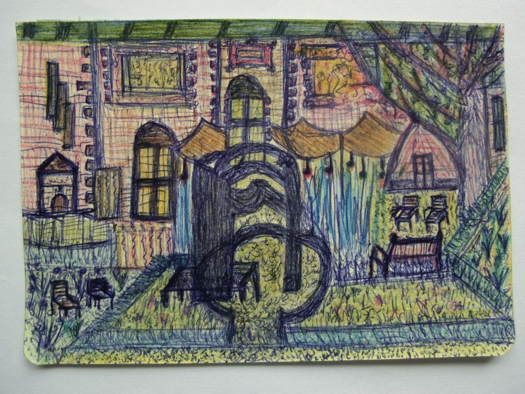 tekening kunstwerk en kas in tuin Rijksmuseum door Didy van de Veer