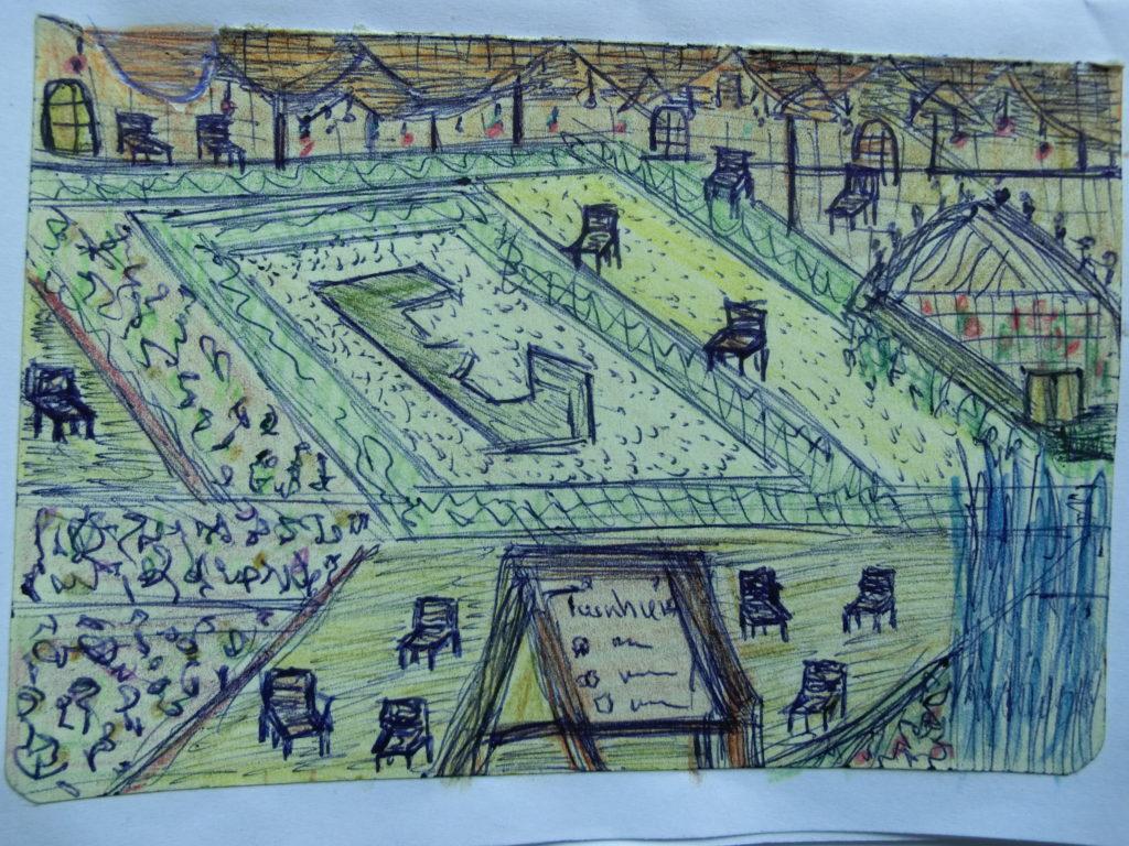 tekening kunstwerk in tuin Rijksmuseum door Didy van de Veer