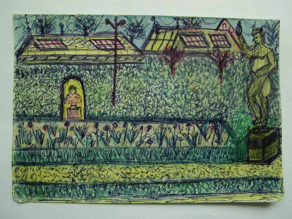 tekening kunstwerken en hoge heg in tuin Rijksmuseum door Didy van de Veer