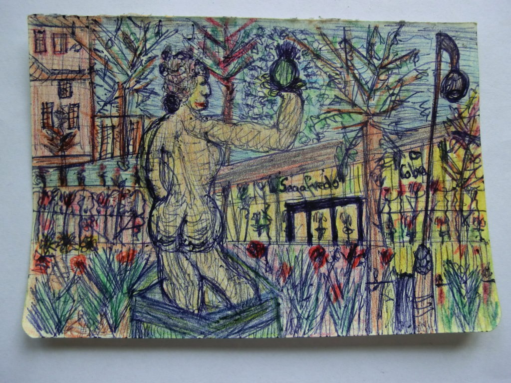tekening standbeeld in tuin Rijksmuseum door Didy van de Veer