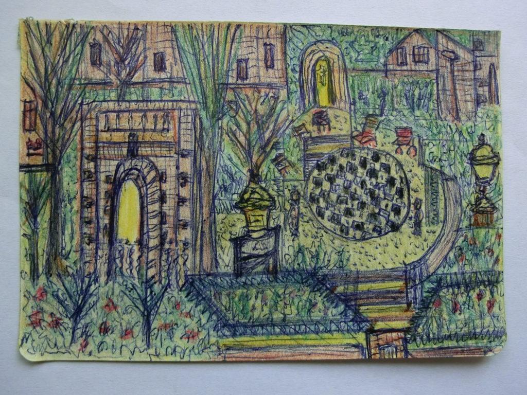 tekening triomfboog in tuin Rijksmuseum door Didy van de Veer