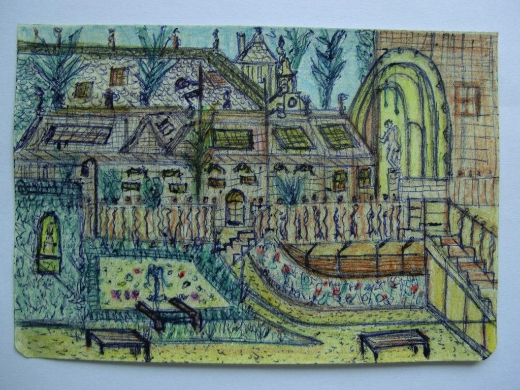 tekening vijver in tuin Rijksmuseum door Didy van de Veer