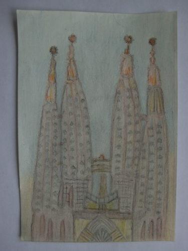 tekening Sagrada Familia door Didy van de Veer
