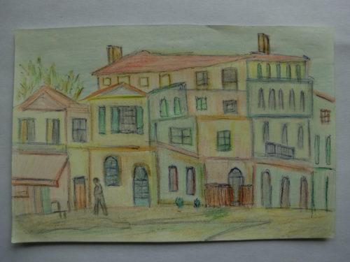 tekening dorpje door Didy van de Veer