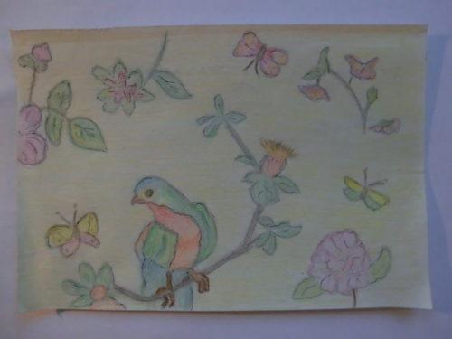 tekening vogel en bloemen door Didy van de Veer