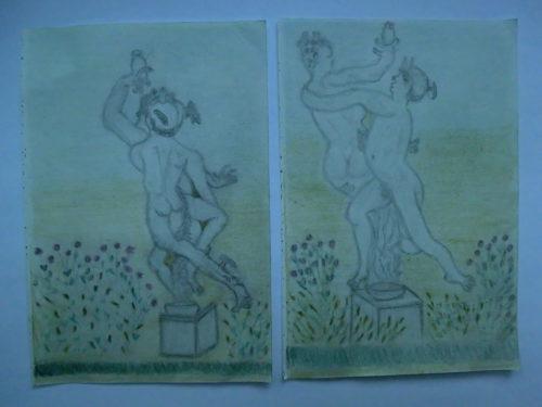 tekeningen standbeeld in tuin van Rijksmuseum